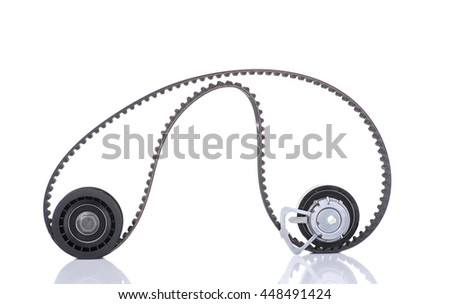 Image of Timing belt, two rollers isolated on white - stock photo