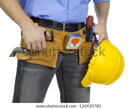 Image of tool belt on the waist of an construction worker isolated on white background
