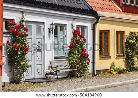 Image of traditional small town houses. Ystad, Sweden.