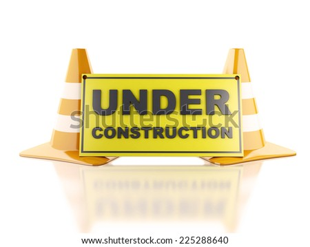 image of Traffic cones, Helmet. Under construction concept. 3d illustration - stock photo