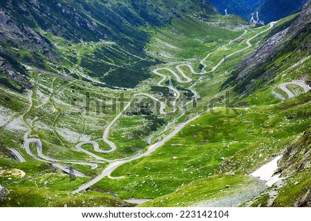 Image of Transfagarasan road crossing the  mountains - stock photo