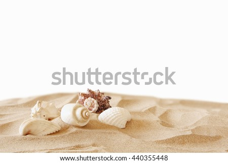 Image of tropical sandy beach and seashells. Summer concept. isolated on white - stock photo
