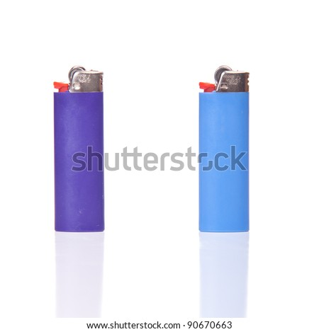 Image of two generic lighters, isolated on white with reflection.