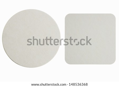 Image of two new beer coasters isolated on a white background. Add your own design or logo. - stock photo
