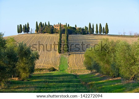 Image of typical beautiful tuscan landscape. Italy - stock photo