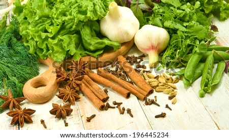 image of various herbs and spices - stock photo