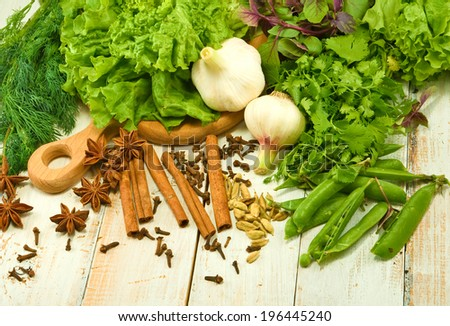 image of various herbs and spices on the board - stock photo