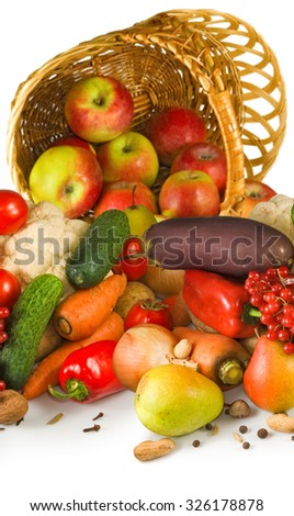 Image of various vegetables in a basket - stock photo