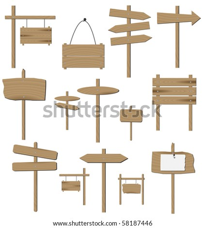Image of various wooden signs isolated on a white background. - stock photo
