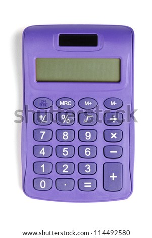 Image of violet calculator isolated on white background - stock photo