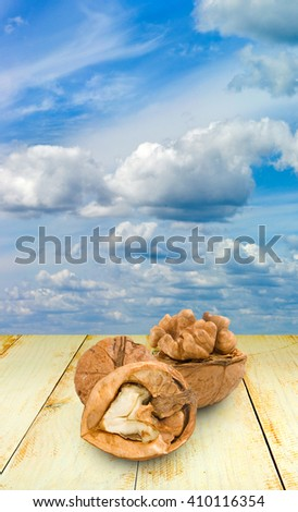 image of walnuts in the sky background - stock photo