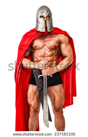 Image of warrior who is guarding something - stock photo