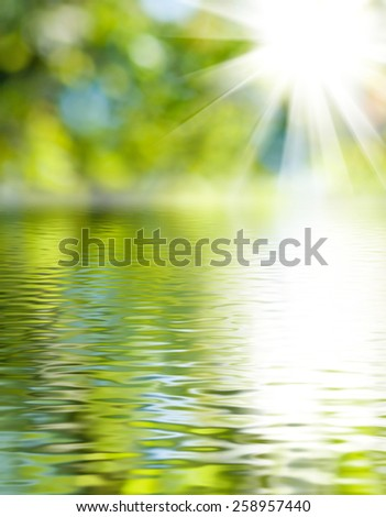 image of water on a green background - stock photo