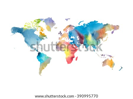 Image of watercolor world map on white.  - stock photo