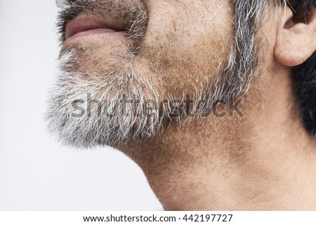 Image of white beard of elderly man