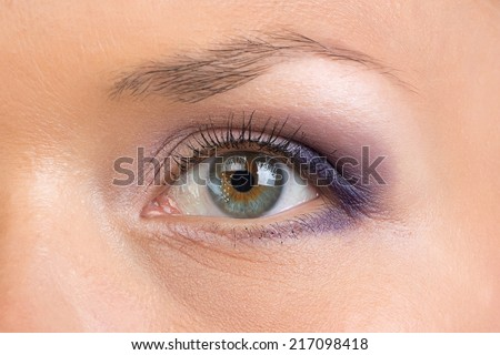 Image of woman gray eye on white background
