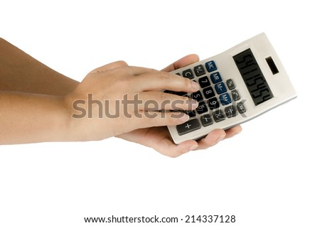 Image of woman's hand use calculator