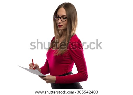 Image of woman with red lips, pen and sheets on white background