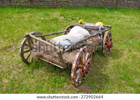image of wooden carts in the village - stock photo