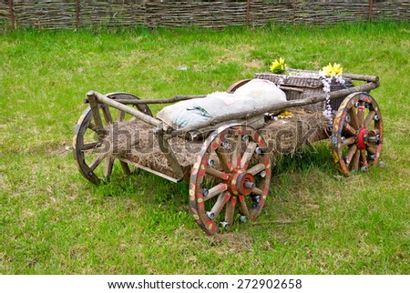 image of wooden carts outdoors - stock photo