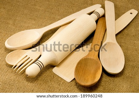 image of wooden forks and spoons - stock photo