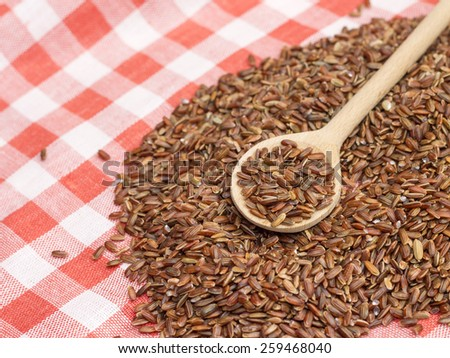 Image of wooden spoon with raw red rice, close-up - stock photo