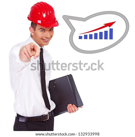 Image of worker who is happy about success at job - stock photo