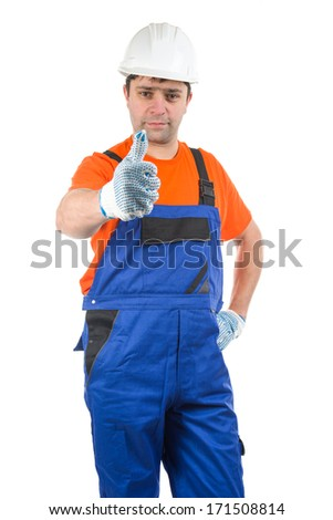 Image of Workman showing thumbs up, isolated