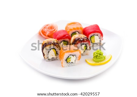 Image of Yapona maki sushi rolls served with pickled ginger and wasabi - stock photo