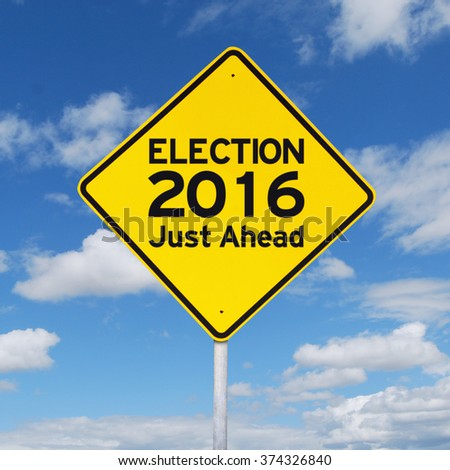 Image of yellow signpost to guide on the election 2016. Shot under cloudy sky - stock photo