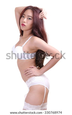 Image of young asian woman in sexy white underwear