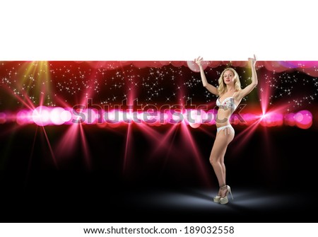 image of young attractive woman in bikini holding banner, copy space