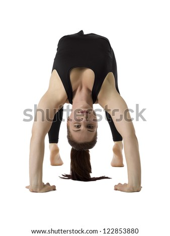 Image of young attractive woman practicing yoga exercise against white background