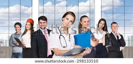Image of  young businessmen, who like their team.  - stock photo