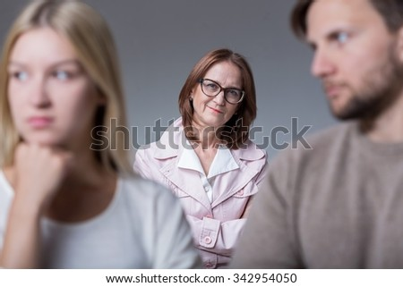 Image of young couple with problems on marital therapy