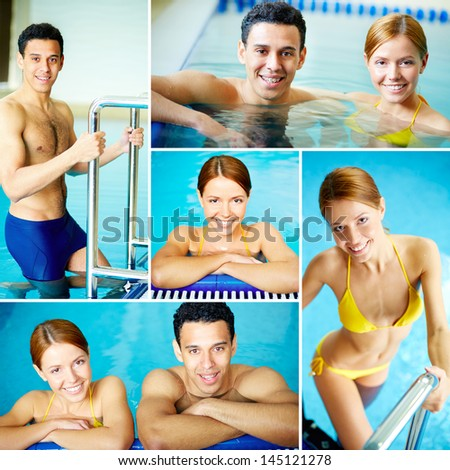 Image of young male and female looking at camera in swimming pool - stock photo