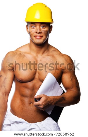 Image of young sexy worker writing on clipboard