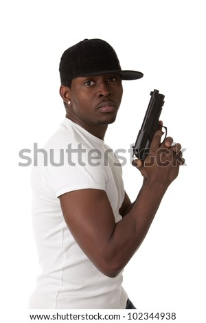Image of  young thug with a gun