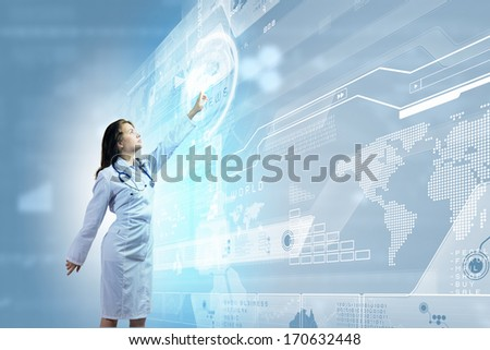 Image of young woman doctor touching icon of media screen