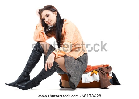 Image of young woman having depression and thinking - stock photo
