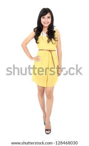 Image of young woman in casual clothes smiling at camera isolated over white background - stock photo