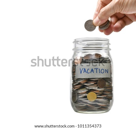 Image on concept of saving money for vacation and  business, saving, growth, economic