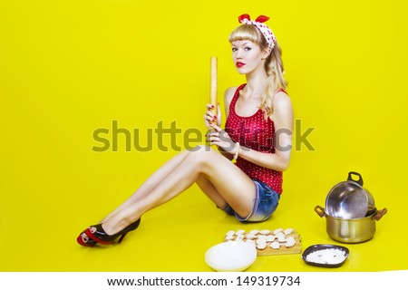 image pin up girl on a yellow background - stock photo