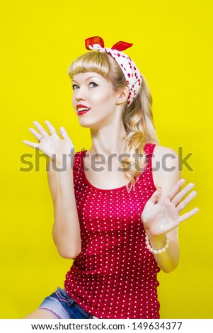 image pin up girl on a yellow background