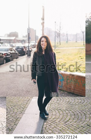 Image reconstruction with overlapping photos of young handsome straight brown hair woman with septum piercing walking in the city, looking in camera, holding smartphone - collage, photomontage concept - stock photo