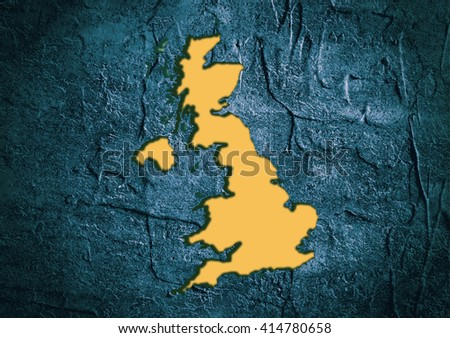 Image relative to Great Britain travel. United Kingdom state map in concrete textured frame - stock photo
