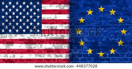 Image relative to politic relationships between United States and European Union. National flags textured by brick wall.