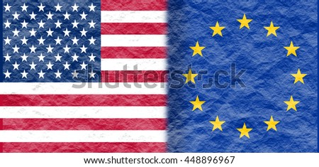 Image relative to politic relationships between United States and European Union. National flags textured by crumpled paper.