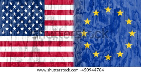 Image relative to politic relationships between United States and European Union. National flags textured by wood.