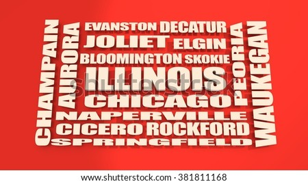 image relative to usa travel. Illinois state cities list - stock photo